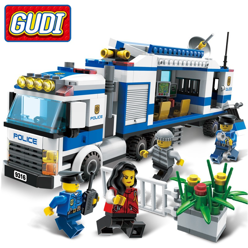 GUDI 407pcs Police Mobile Command Center Building Blocks Playmobil Police Truck Model Action Figure Bricks Toys for Boys