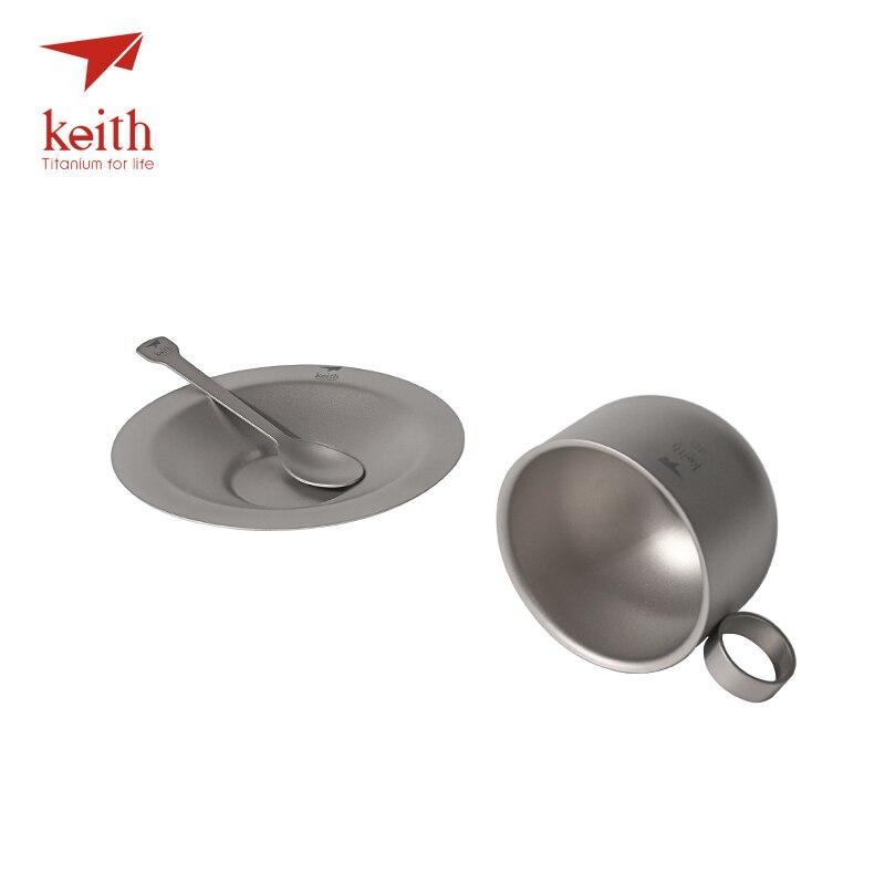 Keith titane Camping tasse à café ensemble titane soucoupe cuillère ultraléger extérieur voyage vaisselle thé tasses ensemble tasse 150 ml Ti3601 - 3