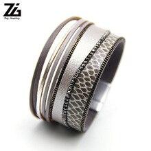 ZGLeopard Leather Bracelets for Women Femme Bracelets & Bangles Bohemian Crystal Boho Wide Wrap Bracelet Female Jewelry все цены