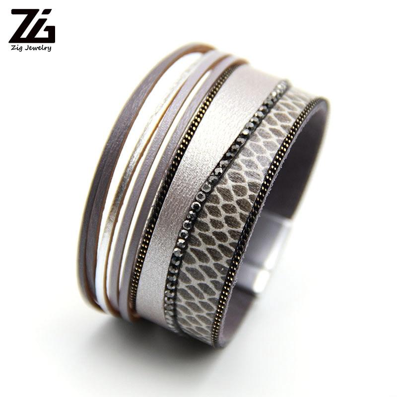ZGLeopard cuir Bracelets pour Femme Femme Bracelets & Bracelets bohème cristal Boho Bracelet large bijoux Femme