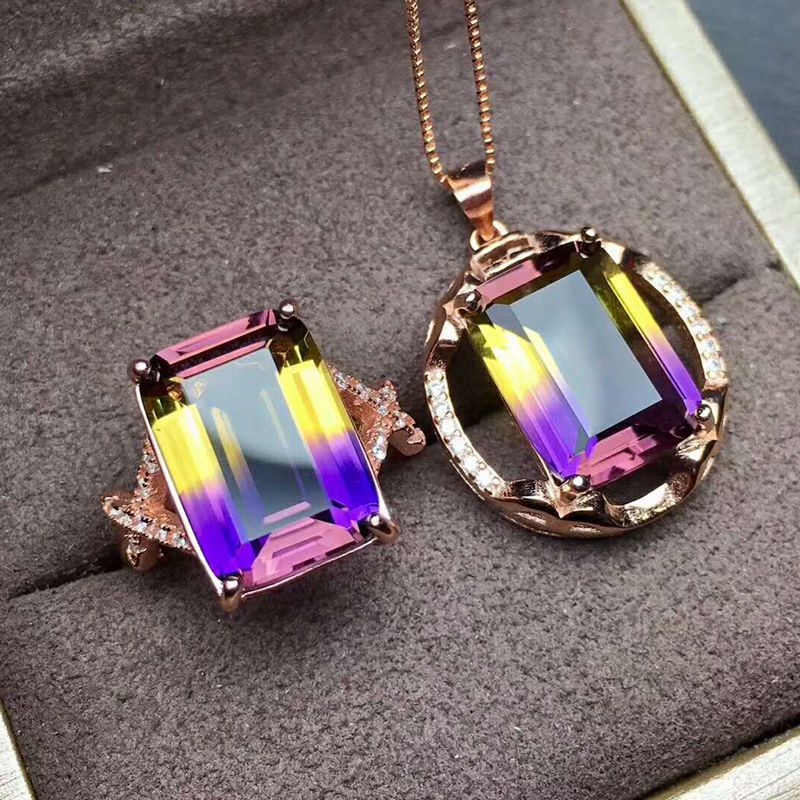 925 Sterling Silver Square Kunzite Pendent Necklace, Ring, Jewelry Set Purple and Yellow Stone 10 x 14 mm