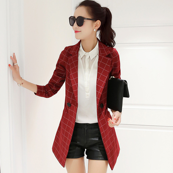 women Blazers and jackets 2018 fashion Long sleeve casual Notched collar Blazer Double Breasted plaid jacket female Plus size women long sleeve sequin blazer runway designer double breasted blazers elegant fashion notched collar long jacket blaser femme