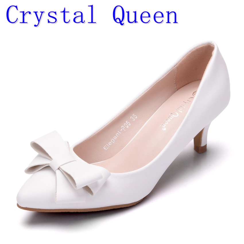 Crystal Queen Spring Summer Women Pumps Sweet Bowknot High-heeled Shoes  white High Heel Shoes 9eac8b45b536