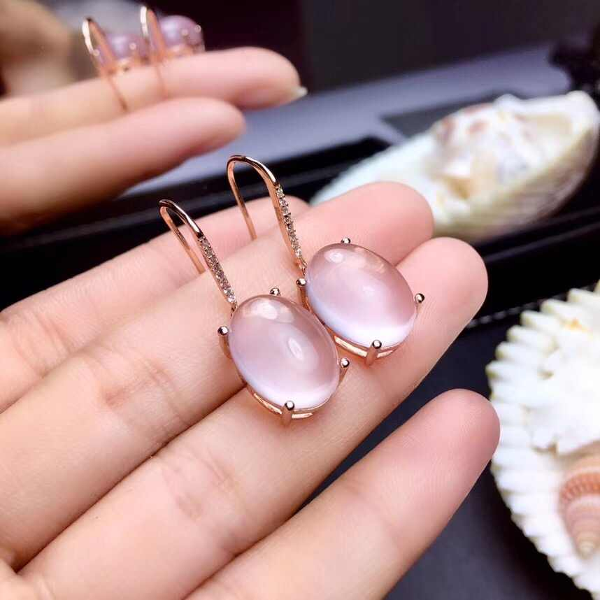 FREE SHIPPING Rose Pink Crystal Sterling Silver Earrings