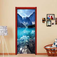 3D Blue Chinese Mountain Lake Fridge Stickers Removable Wall Door Stickers Self Adhesive Decals Murals Kitchen DIY Decoration(China)