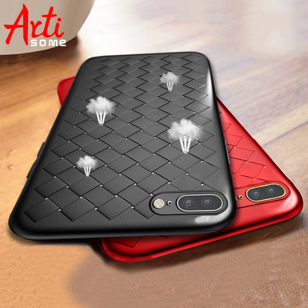 Artisome Soft Silicone Case For Apple iPhone 7 8 Plus Case For iPhone X 10 6 6s 7 8 Case 360 Protect Shell Grid Woven Cover      чехлы марвел