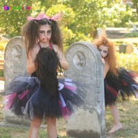 Ksummeree Zombie Tutu Dress Handmade Gilrs Dress For Purim Scary Monster Pageant Black Hot Pink Halloween