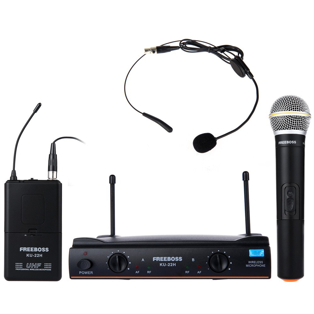 ku 22h professional uhf wireless microphone system headset handheld mic dual channel. Black Bedroom Furniture Sets. Home Design Ideas