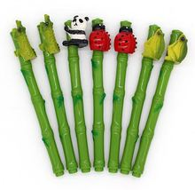 100pcs/lot New arravial crative plastic bamboo panda pen  Promotional insect frog ballpoint ladybird gift