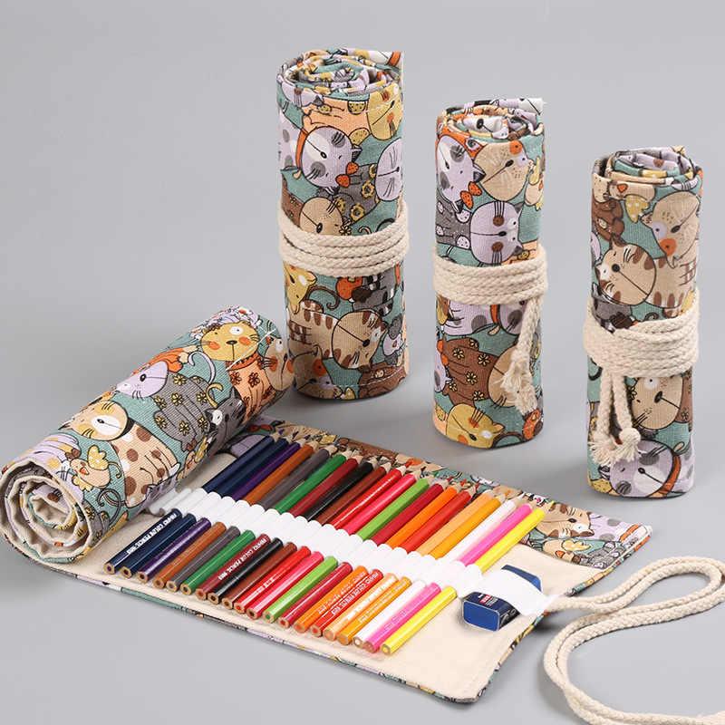 12/24/36/48/72 ม้วนกระเป๋าใส่ดินสอ Kawaii ผ้าใบปากกากระเป๋า Penal สำหรับหญิงน่ารักขนาดใหญ่ Pencilcase Penalties กล่องเครื่องเขียน