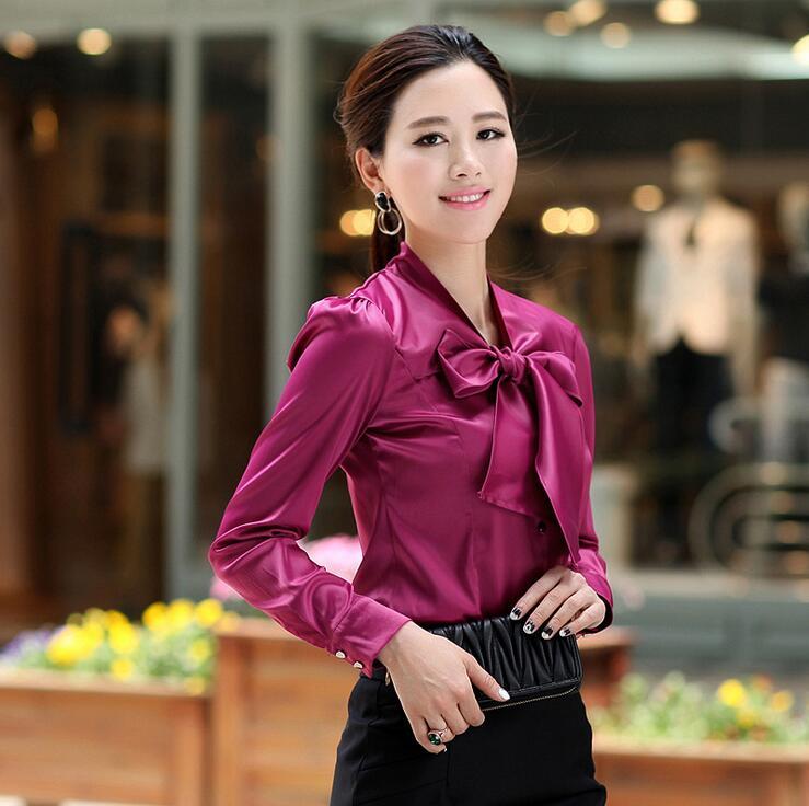 Femmes Blouses 2019 mode à manches longues à lacets grand arc bureau chemise en mousseline de soie Blouse chemise décontracté hauts grande taille Blusas Femininas