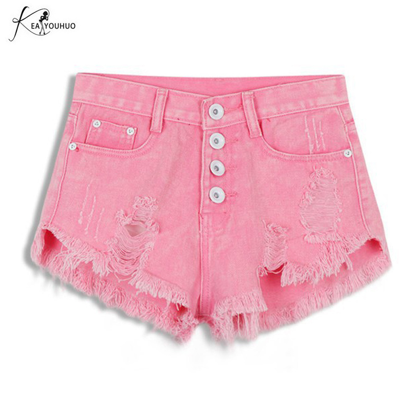 Black Pants Fashion Hot Denim Shorts Women Sexy Hole White /Blue / Pink High Waist Short Jeans 2017 Casual Pockets Ripped Shorts