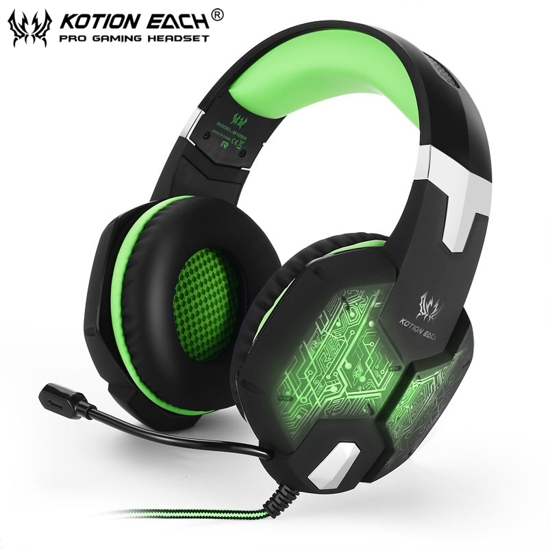 New EACH G1000 Deep Bass Gaming Headphone Stereo Surround Over Ear Headset 3.5mm+USB Headphones With Mic LED Light For PC Gamer super bass gaming headphones with light big over ear led headphone usb with microphone phone wired game headset for computer pc