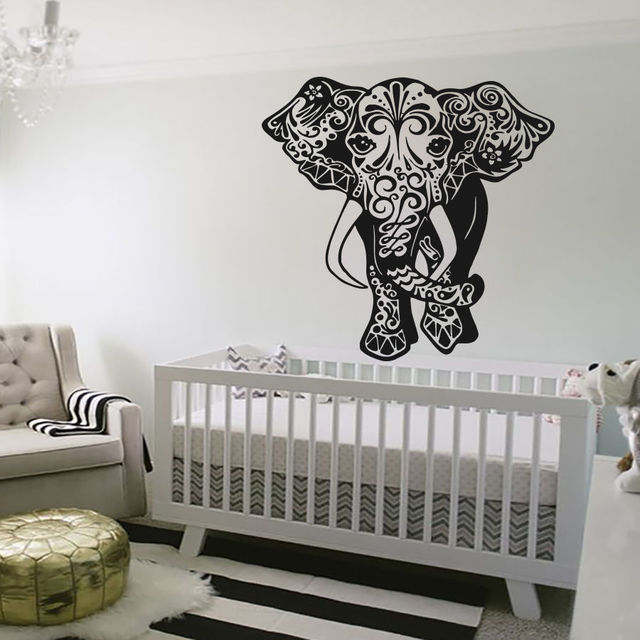 Removable Wall Stickers Elephant Wall Decal Indian Art Decals Vinyl Sticker  Home Bedroom Decor Waterproof Wallpaper