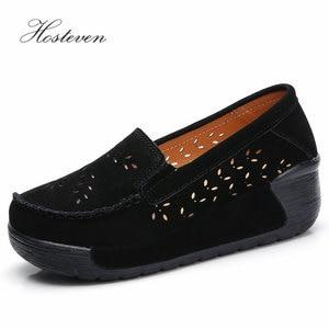 Image 3 - Hosteven Women Shoes Moccasins Loafers Sneakers Flat Platform Genuine Leather Summer Autumn Ladies Female Swing Hole Shoe