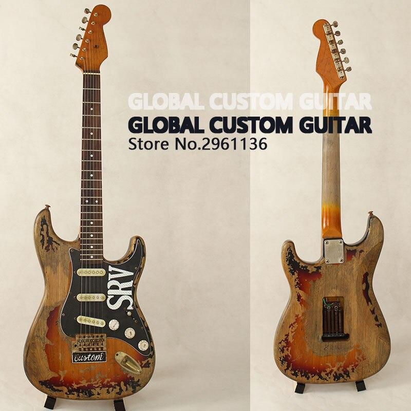 En Stock!! Haute Qualité La nouvelle main reste ST SRV guitare électrique, Faire vieux électrique guitare, réel photo, Livraison gratuite