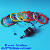 Hot Sale DC12V 20Meters 1.3mm 10 Colors available EL Wire Flexible For Glowing Model Car Decoration LED Neon Holiday Lighting