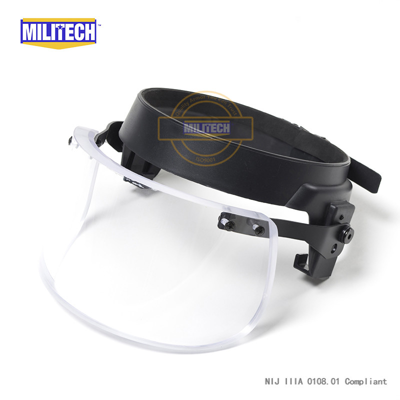 MILITECH Bulletproof Ballistic Visor Shield For PASGT ACH FAST Helmet Fix Ring Bullet Proof Visor Guard Mask For Mich Helmet