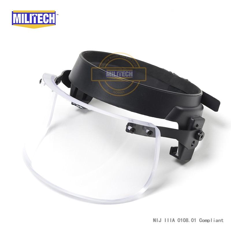 MILITECH Bulletproof Ballistic Visor Shield For PASGT ACH FAST Helmet Fix Ring Bullet Proof Visor Guard Mask For Mich Helmet