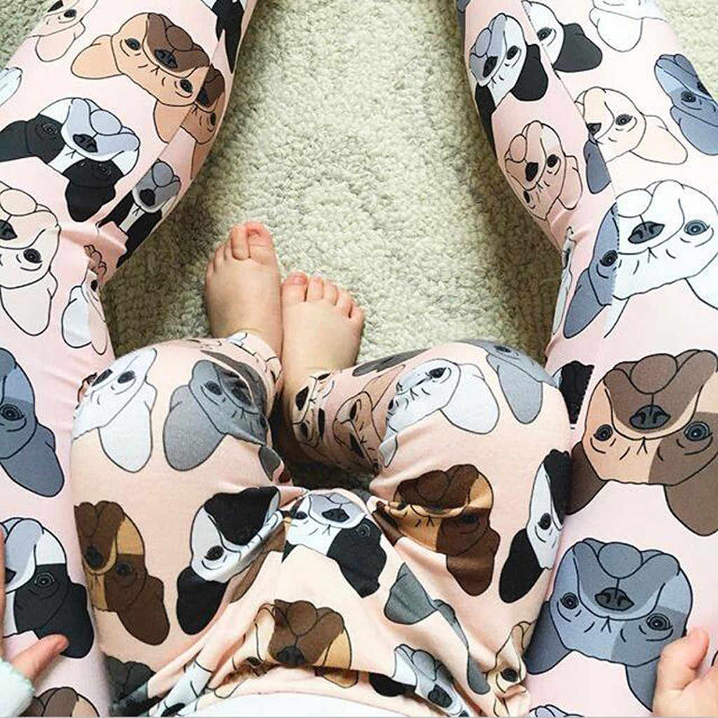 Mommy Dad and Me Adult Women Men boys girls Dog Print Trousers Family Pants Casual Pink Light Blue Family Matching Outfits Look