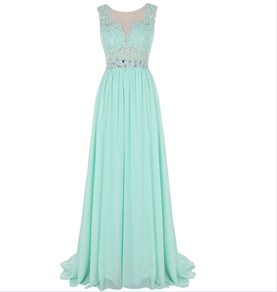 Mint Green Evening Dresses 2019 A-line Cap Sleeves Chiffon Lace Crystals Women Long Evening Gown Prom Dresses Robe De Soiree