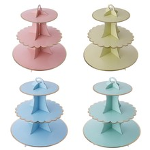 3-tier Cake Stand cupcake Cardboard Baby Shower Kids Birthday Wedding Party Decoration(China)