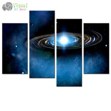 Blue Starry Canvas Wall Art Prints Outer Space Planet Canvas Picture Wall Decal Large Size Space Canvas Giclee Print