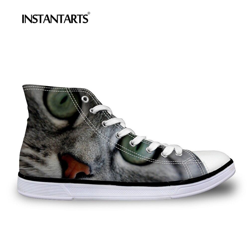 INSTANTARTS Cool 3D chat imprimer hommes chaussures hautes homme Tenis étudiant confortable laçage appartements baskets classique vulcaniser chaussure homme