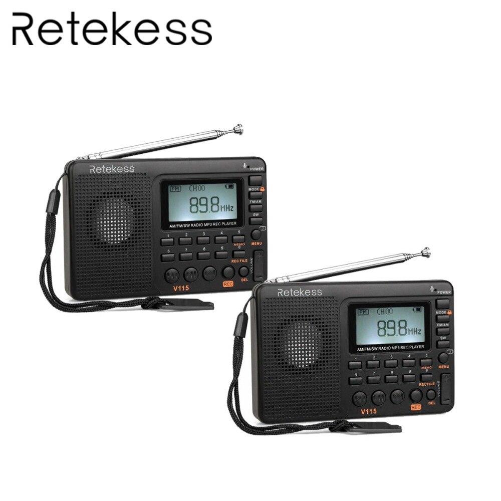 2 pcs Nouvelle V115 Radio FM/AM/SW Récepteur Mondial Bande MP3 Lecteur REC Enregistreur Avec le Sommeil Minuterie FM Radio Enregistreur F9205A