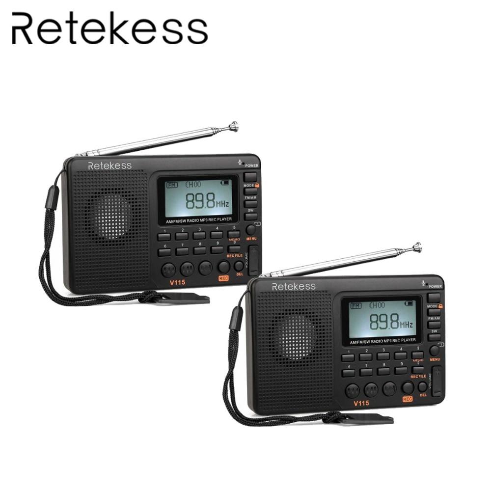 2pcs Retekess V115 Radio FM/AM/SW World Band Receiver MP3 Player REC Recorder With Sleep Timer FM Radio Recorder F9205A
