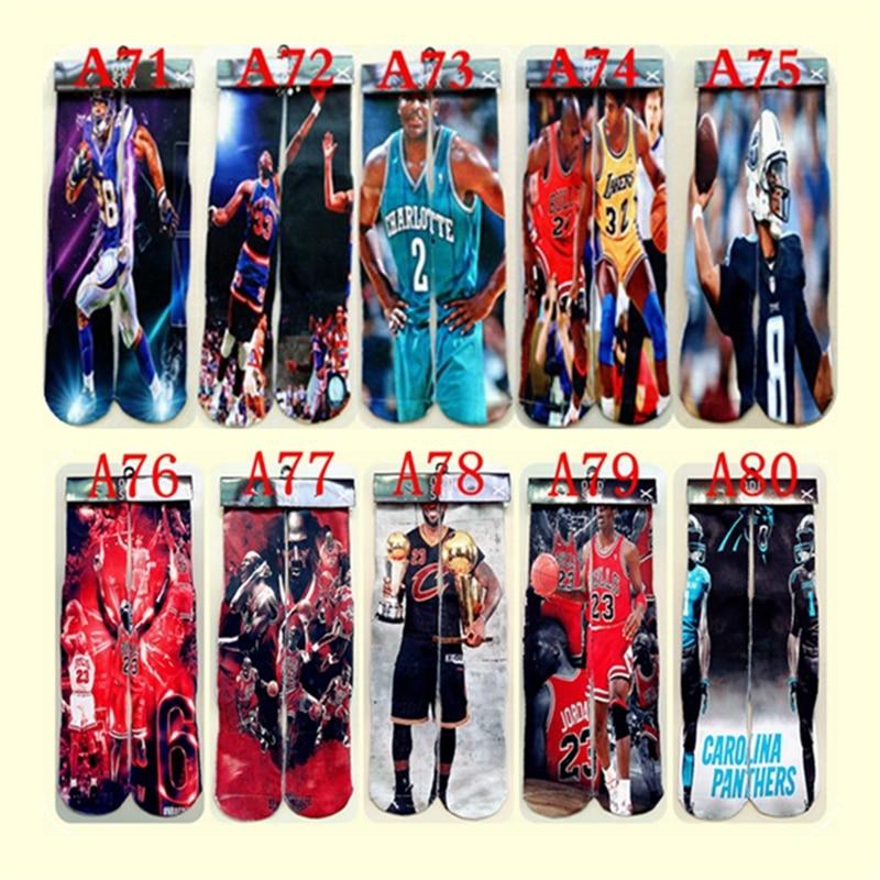 1pair 3d character Printed Jordan Socks