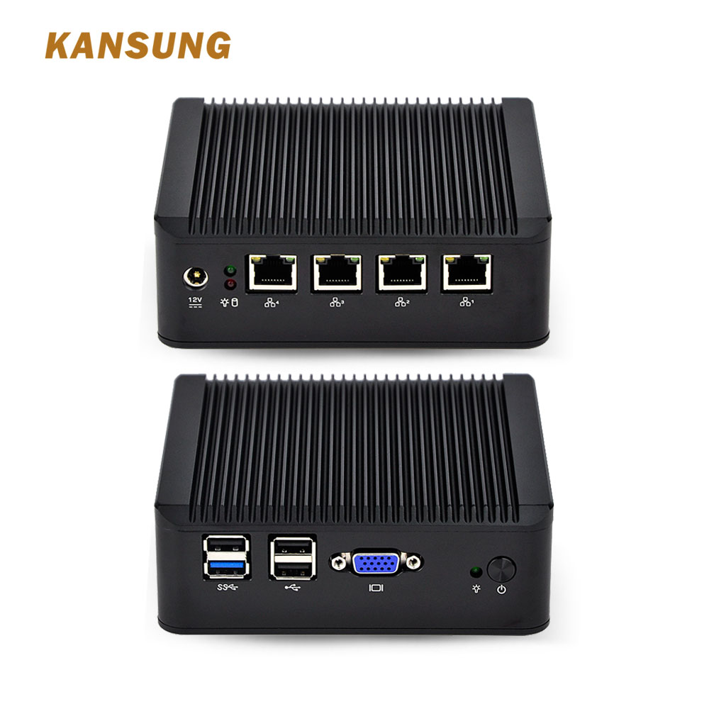 KANSUNG Mini PC Windows Computer Desktop PC 4 LAN Intel J1900 Barebone Fanless Linux Mini PC X86 Industrial Micro PC