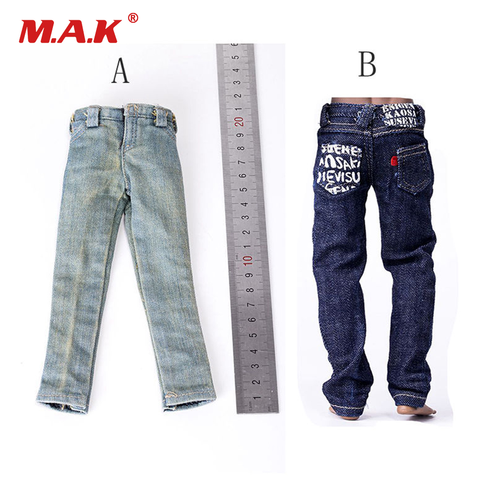 1//6 Black Vest Loose Jeans Belt Clothes Set For Male PH M35 Strong Muscle Body