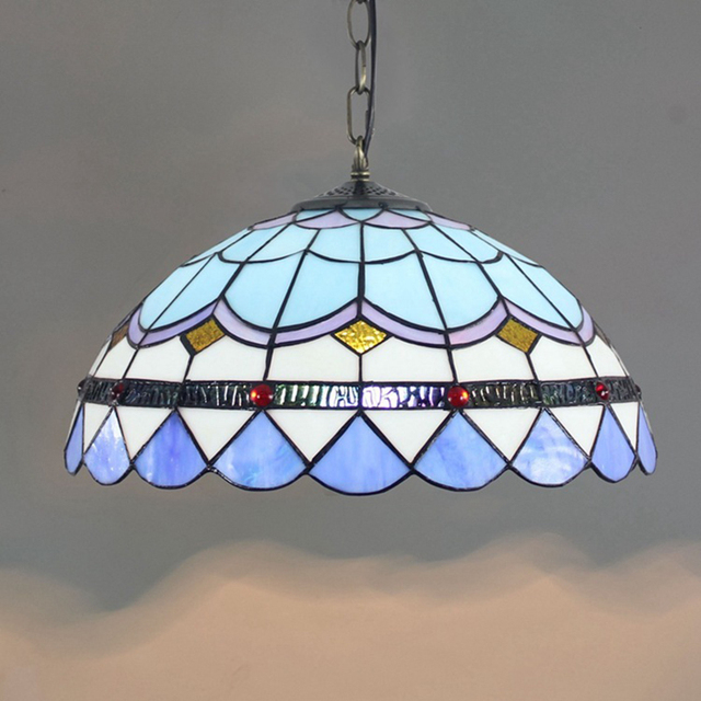 Bohemia Glass Shade Pendant Light Mediterranean Multi Colored Stained Glass  Pendant Hanging Lamp Tiffany Kitchen Drop Lights