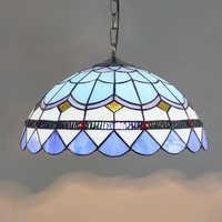 Sombra de vidro luz pingente mediterrâneo Bohemia multi colorido vitral tiffany lâmpada pingente pendurado cozinha luzes queda
