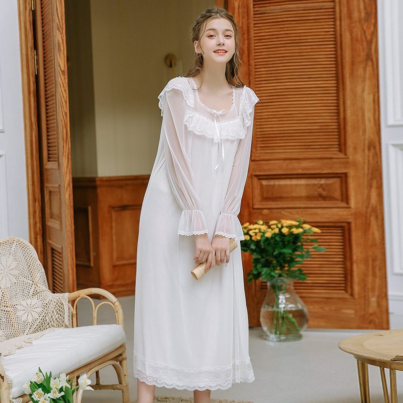 Palace Princess Sleeping Dress Spring Women Nightdress Long Sleepwear White Lace Bow   Nightgowns     Sleepshirts   Retro Long Sleeve