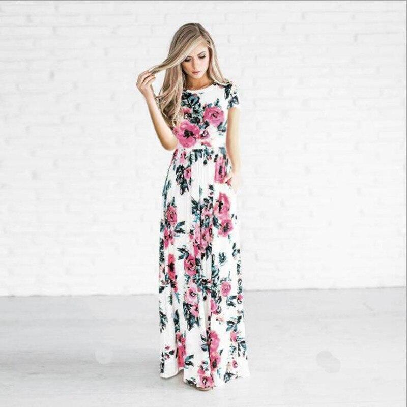 4d2b729c898e ... S-3XL Summer Long Dress Floral Print Boho Beach Dress Tunic Maxi Dress  Women Evening ...