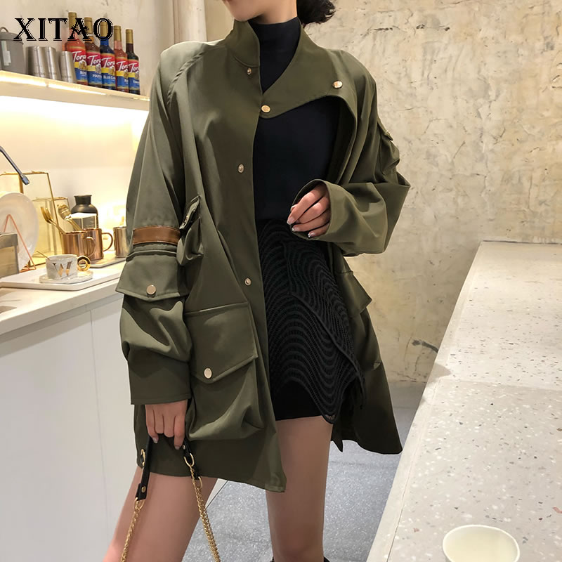 [XITAO] Spring Summer 2019 Women New Arrival Patchwork Pu Single Breasted Sequined Pocket Stand Collar Match All   Trench   DLL3303