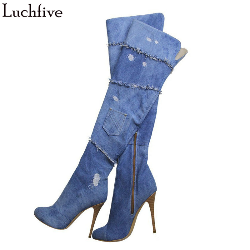 цена на 2017 New Blue Denim Boots Women Platform Thigh High Boots Round Toe High Heel Over The Knee Boots stiletto cut out Long Boots