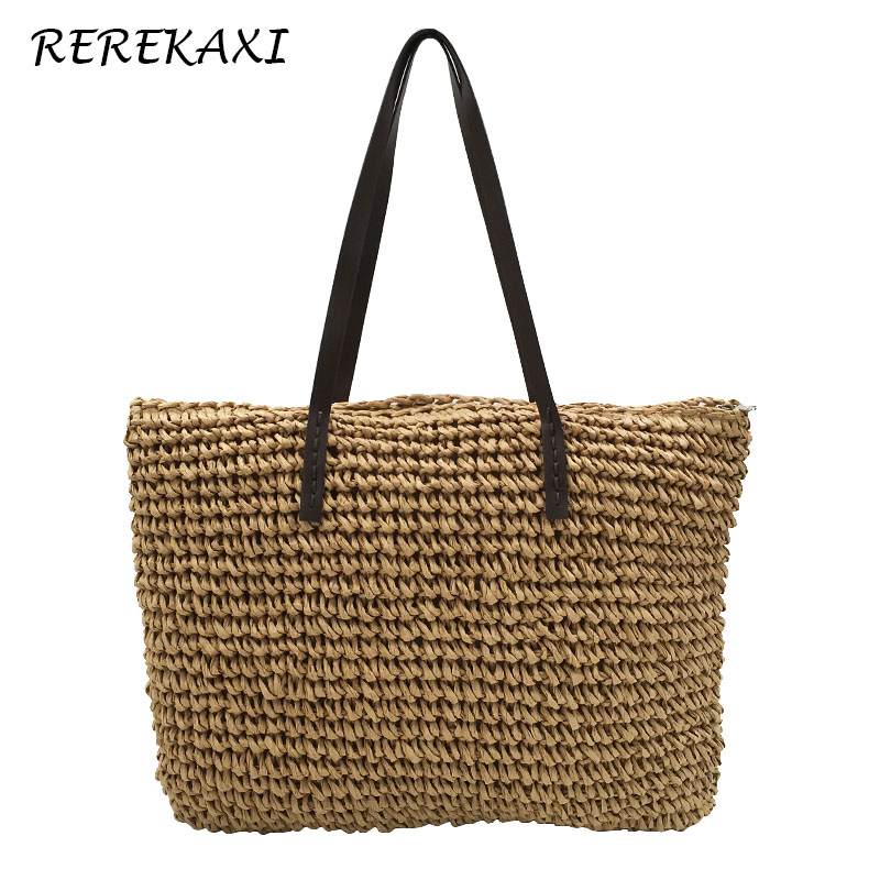 <font><b>REREKAXI</b></font> Fashion Simple Hollow Beach Bags Women Straw Bag Large Capacity Ladies Handbag Bohemian Woven Shoulder Bag Tote image