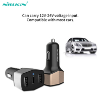 3 em 1 nillkin 3 portas dupla usb carregador de carro adaptador micro tipo-c carregador de carro para xiaomi para samsung pixel para ipad oneplus 3t 5