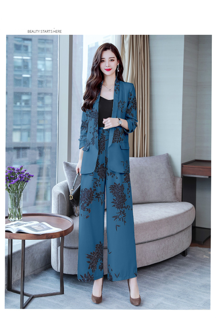 YASUGUOJI New 2019 Spring Fashion Floral Print Pants Suits Elegant Woman Wide-leg Trouser Suits Set 2 Pieces Pantsuit Women 26
