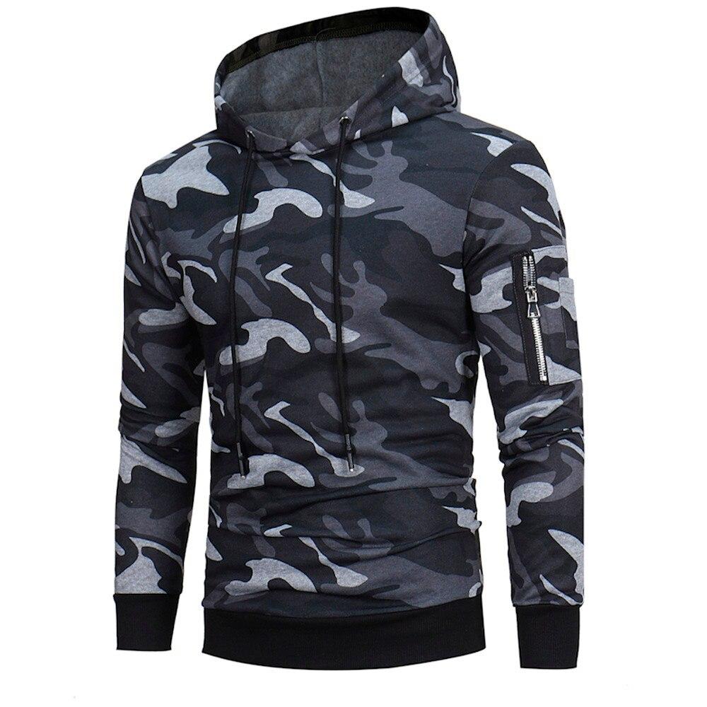 2018 Mens Long Sleeve Camouflage Hoodie Hooded Sweatshirt Tops Jacket Coat Outwear sudadera hombre man hoodies