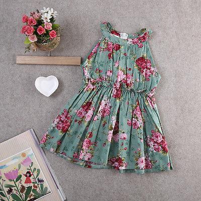 Kids Girls Toddler Baby Sleeveless Princess Dress Flower Tutu Dresses Summer Princess Party Tutu Floral Sundress kids toddler girls princess dress sleeveless polka dots bowknot party princess dresses summer dress