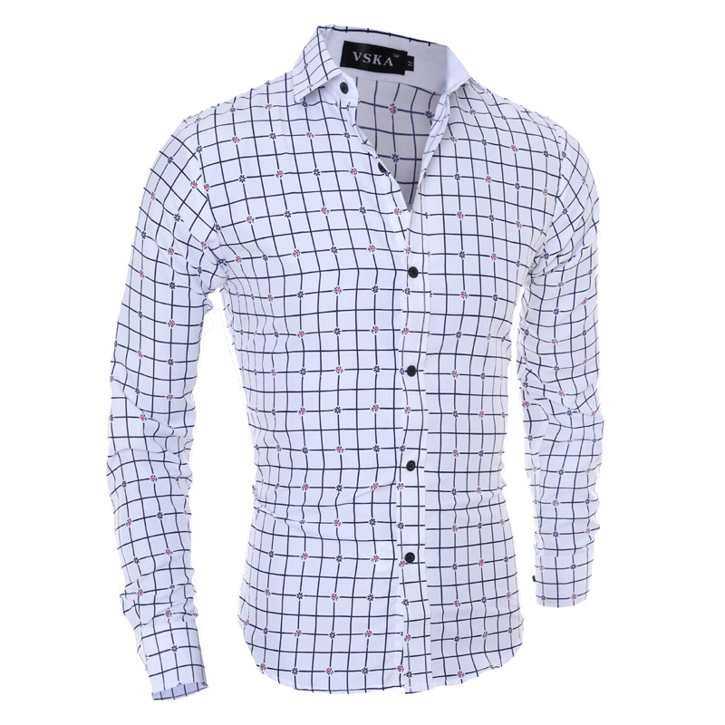 Zogaa 2019 Men Shirts Long Sleeve Cotton Business Casual Shirt Office Work Shirts Men Plaid Shirt Collar Slim Fit Clothing Top