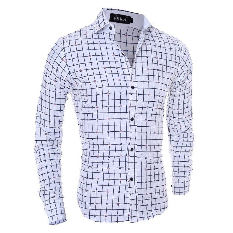 Zogaa 2019 camisas de hombre de manga larga de algodón de negocios Casual Camisa de trabajo de oficina camisas hombres camisa a cuadros cuello Slim Fit ropa top