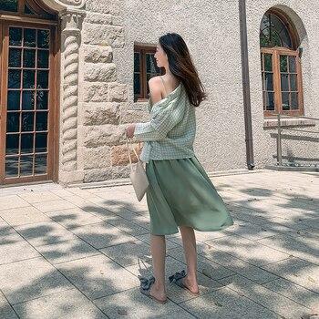 Alta calidad + babero vestido de verano camisa nueva de moda coreana vestido hermosas damas conjunto asequible traje