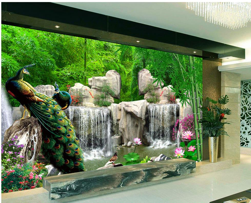 3d room wallpaper bamboo rock mountain peacock tv backdrop for 3d room wallpaper background