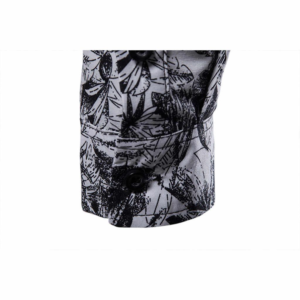 Koszulki luksusowych marek dla mężczyzn w stylu Vintage drukuj Blusa skręcić w dół kołnierz z długim rękawem Slim Fit Camisas koszule na co dzień Streetwear Top