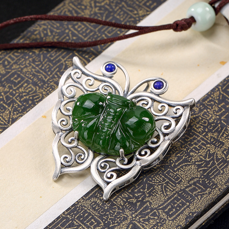2018 Direct Selling Rushed S925 Pure Inlay Hetian Restoring Ancient Ways Butterfly Lady Sweater Wholesale Chain Pendant 2018 direct selling anel feminino thai restoring ancient ways leading mosaic unique ring wholesale corundum man with ambition